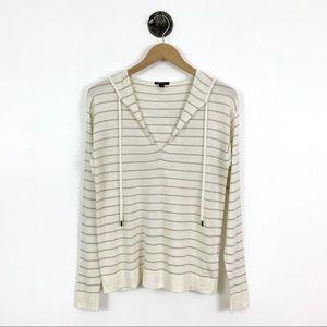 Lafayette 148 Striped Wool Blend Hooded Sweater
